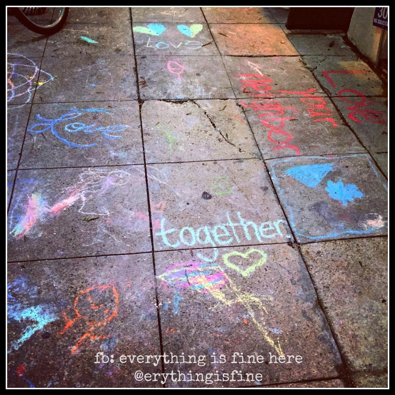 together sidewalk art